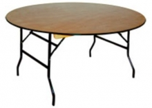 BT005RWT New 5ft Round Folding Banquet Table with Rubber Edged Wooden Top
