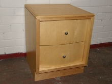BC015BF Bedside Tables in Beech Finish with Chrome Knobs