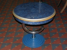 LDT025CIB Unusual Round Drinks Table with Cast Iron Base and Blue Marble Effect Top