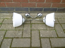 PAIR090CWL Pair of Chrome Wall Lights With White Glass Shades