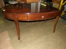 OD012MF Oval Mahogany Finish Desk with Glass Top