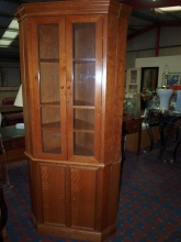 CDC004CF Corner Display Cabinet in Cherry Wood Finish