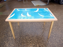 RRT020SP Four Seater Beech Restaurant Tables with Sailing Theme Pictured Top
