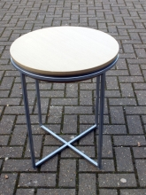 DT024BCH Small Round Metal FrameDrinks Table with Beech Top