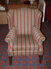 WBC01RBG Traditonal Wing Back Chair with Red, Gold & Green Striped Upholstery