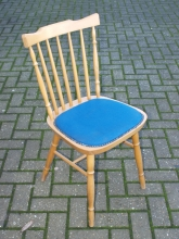 SBPC013BU Spindle Back Pub Chair with Blue Upholstered Seat Pad