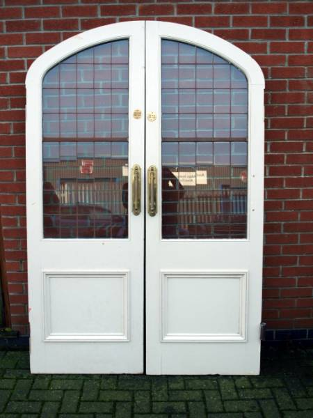 Dr05wh Wooden Arched Double Doors Metal Lined With Glass