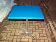 BISTC05BWT New Square Bistro Tables wih Blue Werzalit Top