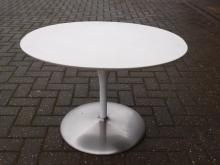 CFT04CNS Contemporary Style Heavyweight Oval Pedestal Coffee Tables with White Top