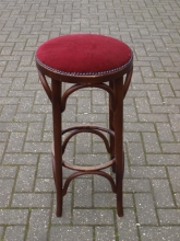 BWHS01RS Dark Oak Bentwood Style High Bar Stool with Red Fabric Seat Pad