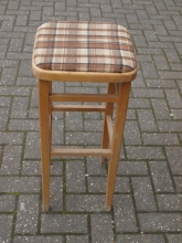 HBS01TTS Light Oak High Bar Stool with Tartan Upholstered Seat
