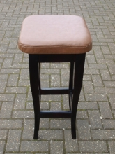 HBS01CVBR Curved Leg High Bar Stool with Brown Leather Seat Pad