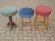 LBS03SET Set of 3 Low Bar Stools with Upholstered Seats