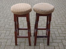 HBS02GS Mahogany Frame High Bar Stools with Gold Upholstered Seat Pads