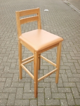 HBS01TVS Light Oak High Bar Stool with Tan Vinyl Seat Pad