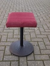LBS06CIB Cast Iron Base Low Bar Stools with Red Draylon Upholstered Seat