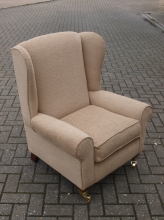 NWBS01BS New Wing Back Chair in Biscuit Coloured Fabric Upholstery