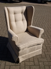 RFWBC01BG Refurbished Wing Back Chair in Beige Fabric Upholstery