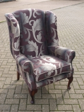 RFWBC01LP Re-Furbished Queen Anne Style Wing Back Chair with Leaf Pattern Upholstery