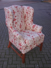 RFWBC01CRP Re-Furbished Traditional Wing Back Chair in Cream & Red Patterned Fabric