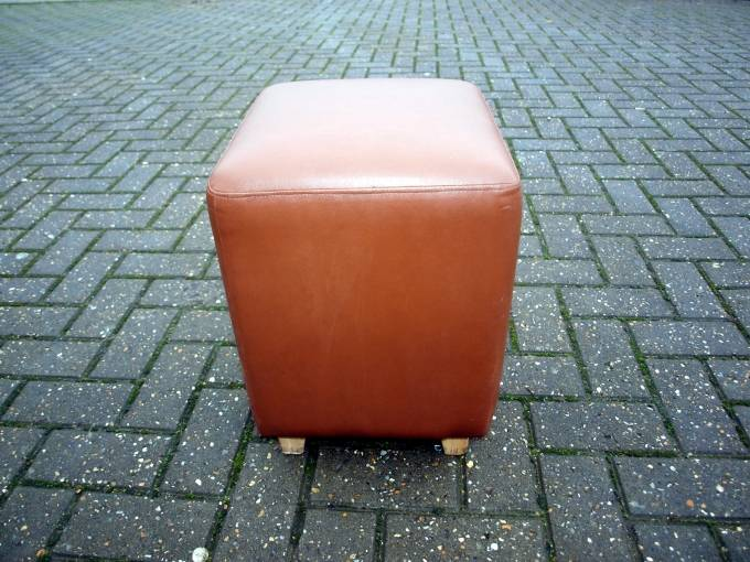 Superb Rubflc03 Re Upholstered Brown Faux Leather Cube Seat Creativecarmelina Interior Chair Design Creativecarmelinacom