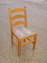 LBRC08LO Light Oak Ladder Back Restaurant Chairs with Upholstered Seat