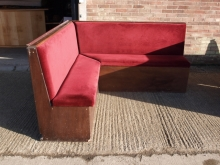CBS01RDO Corner Pub Bench Seat with Red Draylon Upholstery