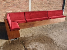 LCBS01RD Large L-Shaped Pub Bench Seating Unit with Red Draylon Upholstery