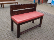 TQBS01RDL Three Quarter Height Bench Seat with Red Leather Upholstered Seat
