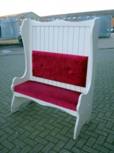 BS03MB Painted White High Back Monks Benches with Red Fabric Upholstered Seat & Back