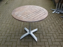 ODT019FTRDL Flip-Top Round Outdoor Pedestal Tables with Wood Tops