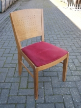 RDC04RD Light Oak Restaurant Dining Chairs with Red Fabric Upholstered Seats
