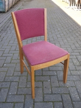 RDC02PK Light Oak Restaurant Dining Chairs with Pink Fabric Upholstery
