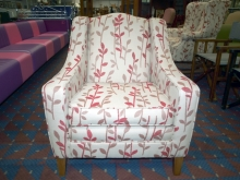 RFEC01BRL Refurbished Easy Chair in Beige Fabric with Red Leaf Pattern