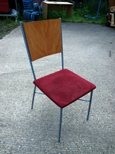 RSBC011 Stacking Bistro Chairs with Red Fabric Upholstered Seats