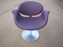APP04TUL Retro Style Pierre Paulip Tulip Chairs in Purple Leather Upholstery