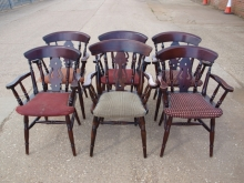 FBPC06MFA Fiddle Back Style Carver Pub Chairs with Upholstered Seats