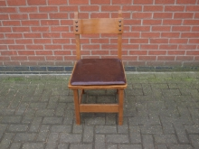 TDPC024LTP Tudor Style Pub Chair with Brown Leather Seat Pad