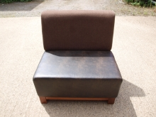 BS02BR1 Two Seater Bench Seats in Brown Leather & Fabric