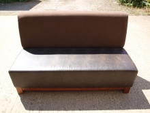 BS02BR2 Bar/Restaurant Bench Seats with Brown Leather Seat & Brown Fabric Back