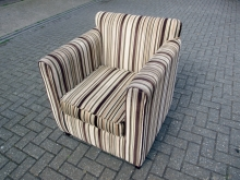 GBSACH030 Armchair in Brown & Green Stripe Fabric