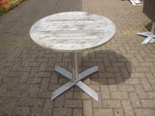 ODT02FTRD Flip-Top Outdoor Round Pedestal Tables with Wood Tops