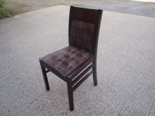 RDC02MFSW Mahogany Frame Restaurant Chair with Purple Swirl Pattern Upholstery