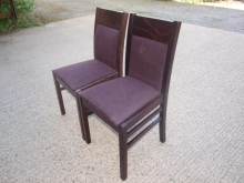 RDC031MFPP Mahogany Frame Restaurant Chairs with Purple Fabric Upholstery