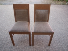 RDC021LOBR Light Oak Frame Restaurant Chairs with Brown Fabric Upholstery