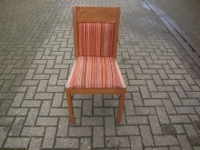 RDC014LORDS Light Oak Frame Restaurant Chairs with Orange Striped Upholstery