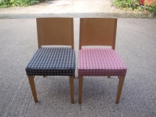 RDC06RBU Light Wood Restaurant Chairs with Thick Padded Upholstered Seats