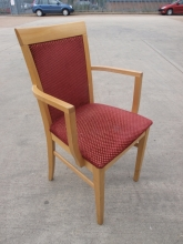 RCC03RDU Restaurant Carver Dining Chairs with Red Fabric Upholstery