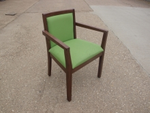 RCC04GR Restaurant Carver Dining Chairs with Green Fabric Upholstery