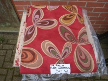 CRT016RDFL Pair of Contract Curtains in Red with Multi-Coloured Swirl Pattern
